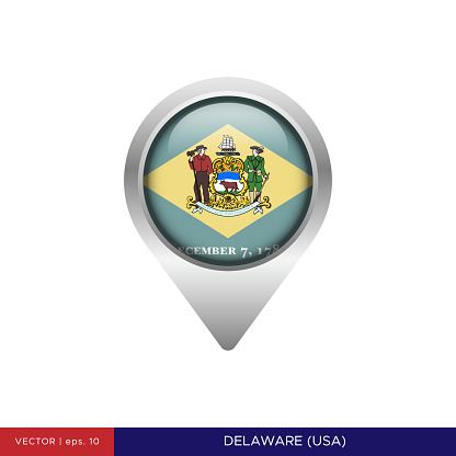 State of Delaware - US Flag Map Pin Vector Stock Illustration Design Template