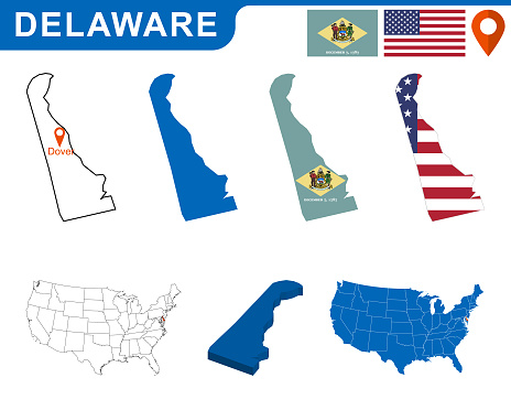 USA state Of Delaware's map and Flag.