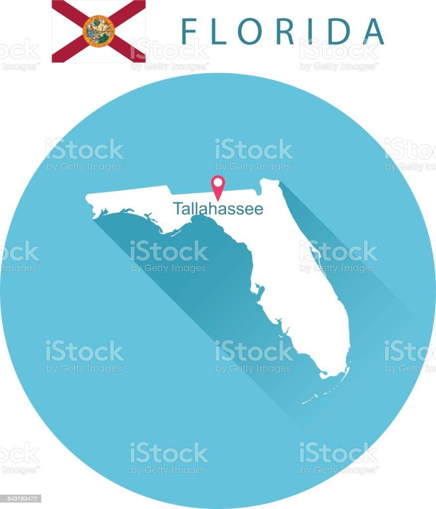 EUA Estado da Flórida, o mapa e a bandeira - ilustração de arte em vetor