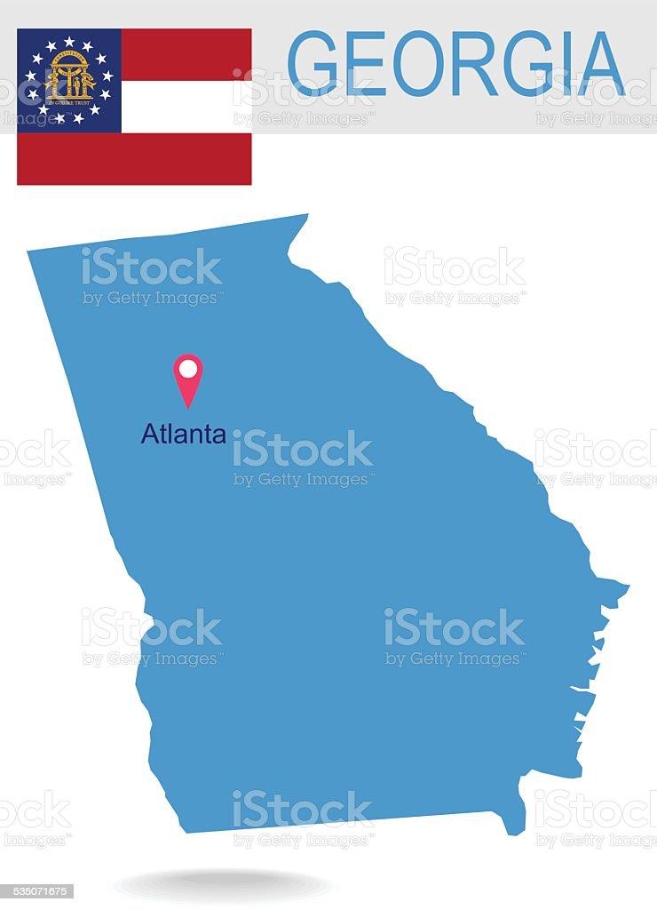 Estados Unidos Mapa Del Estado De Georgia Y De Bandera - Mapa de georgia