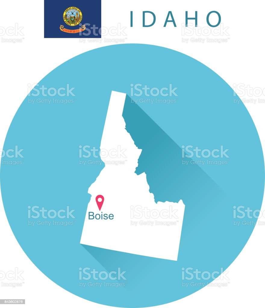 USA state Of Idaho's Map and Flag vector art illustration