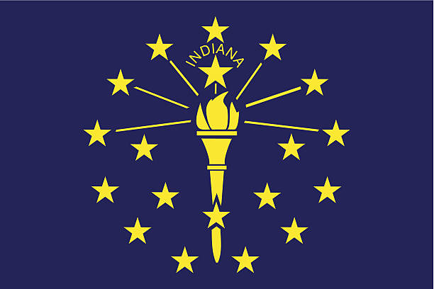 State of Indiana Flag vector art illustration