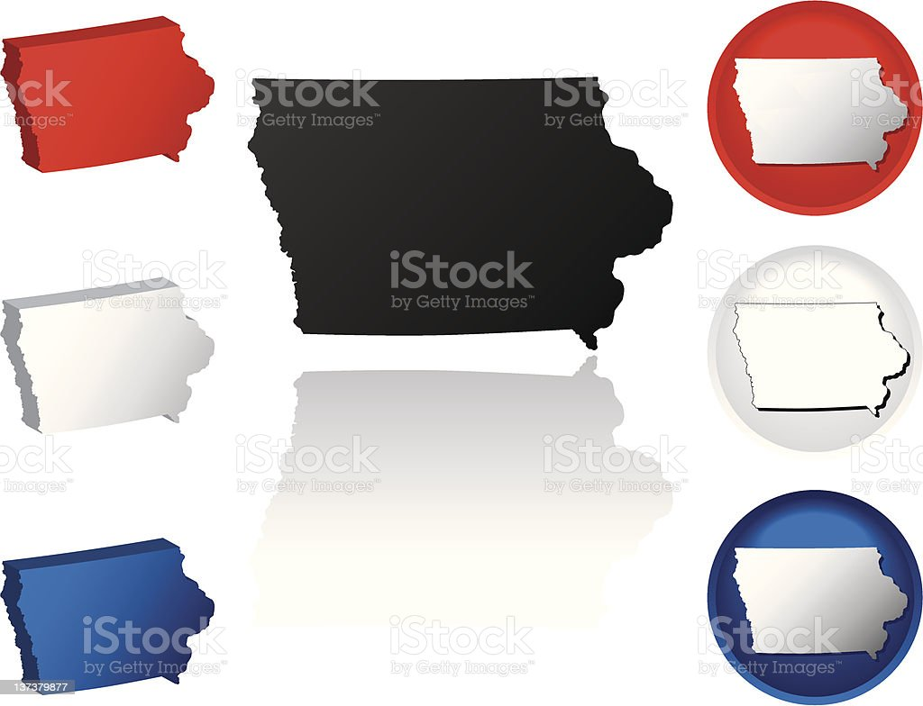State of Iowa Icons royalty-free stock vector art