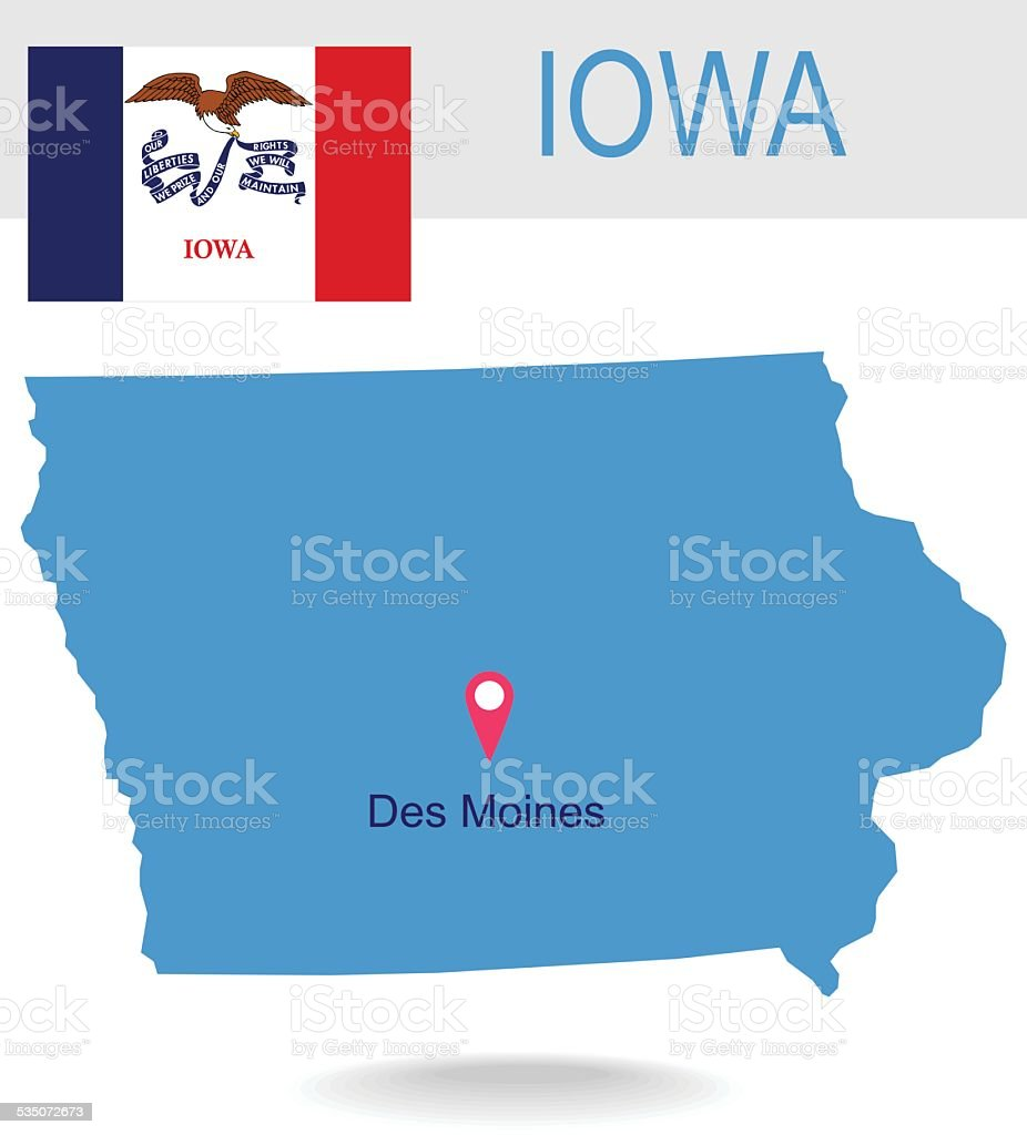 USA state Of Iowa's map and Flag vector art illustration