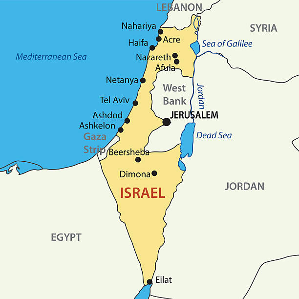 Royalty Free Israel Map Clip Art Vector Images Illustrations - Map of israel