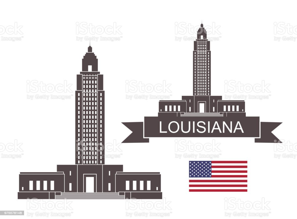 State of Louisiana. Louisiana State Capitol vector art illustration