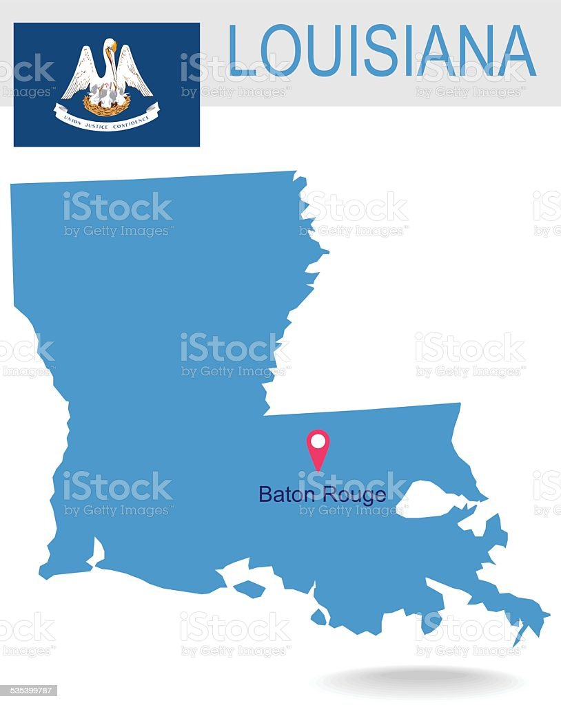 USA state Of Louisiana's map and Flag vector art illustration