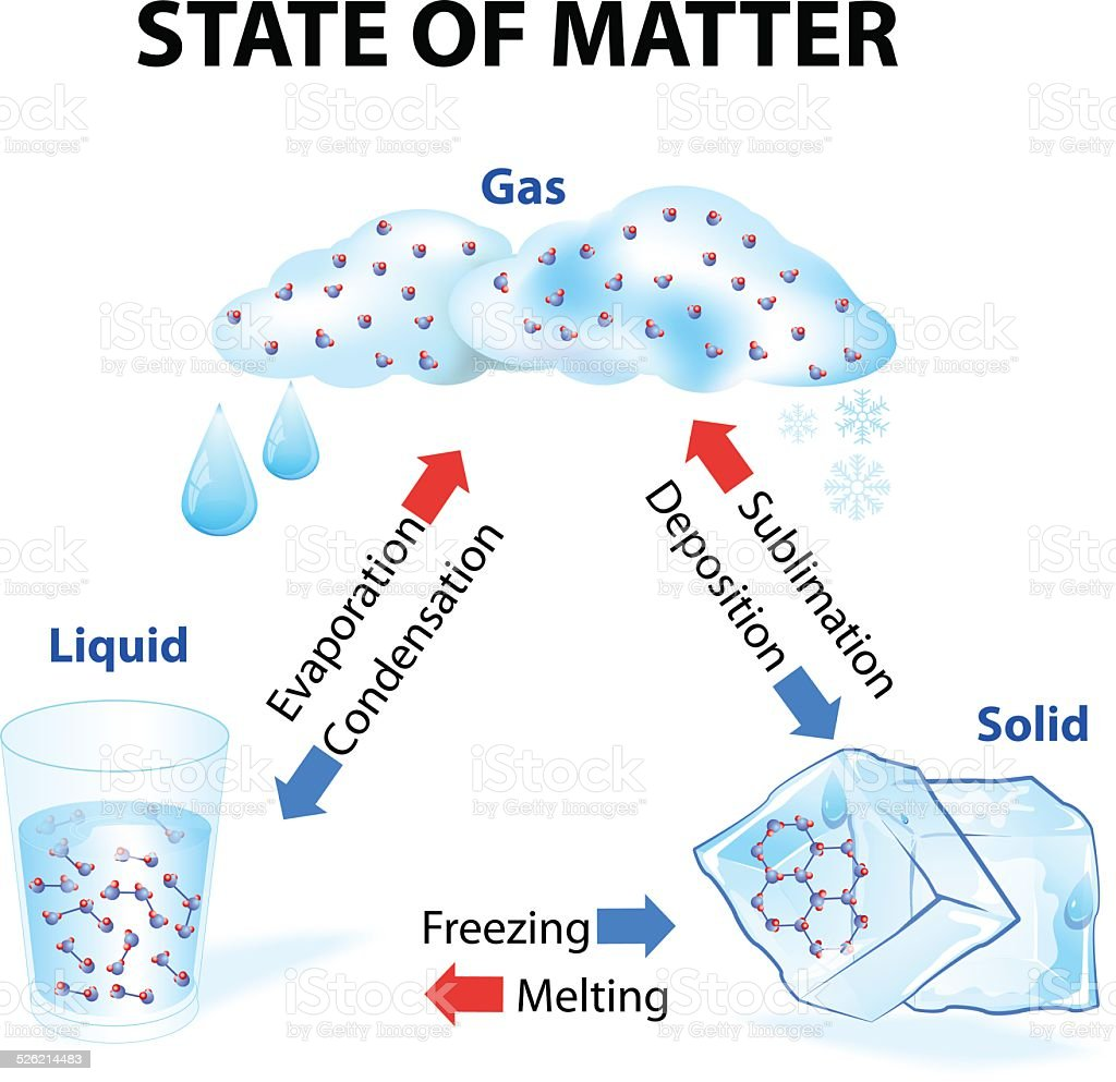 State of matter vector art illustration