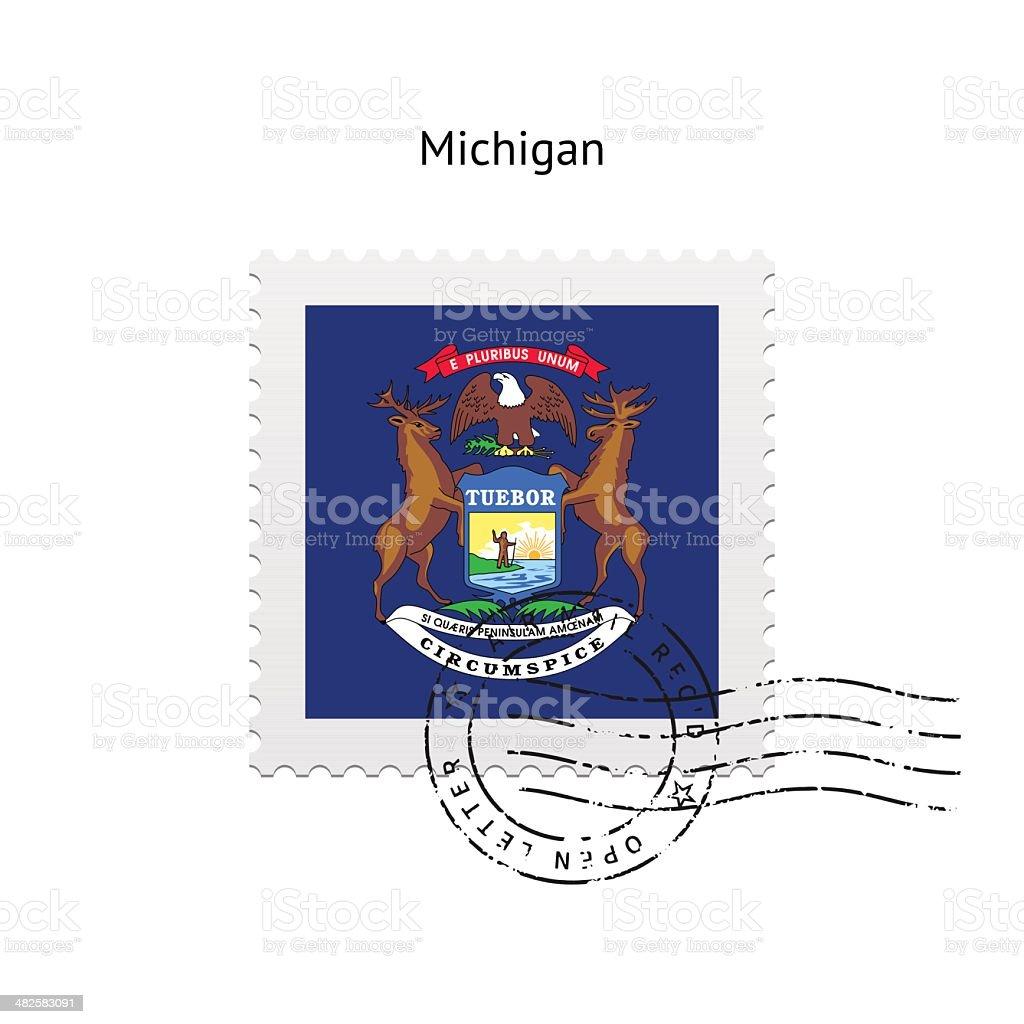 Ilustración de Bandera Del Estado De Michigan Sello Postal y más ...