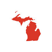 State of Michigan vector map silhouette. MI state shape icon. Outline contour map of Michigan.