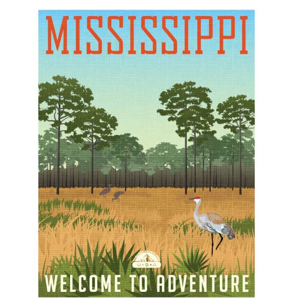 State of Mississippi travel poster or sticker. Vector illustration of Sandhill cranes and pines in wetland nature preserve vector art illustration