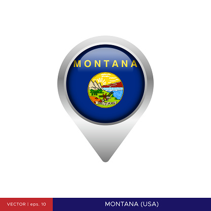 State of Montana - US Flag Map Pin Vector Stock Illustration Design Template