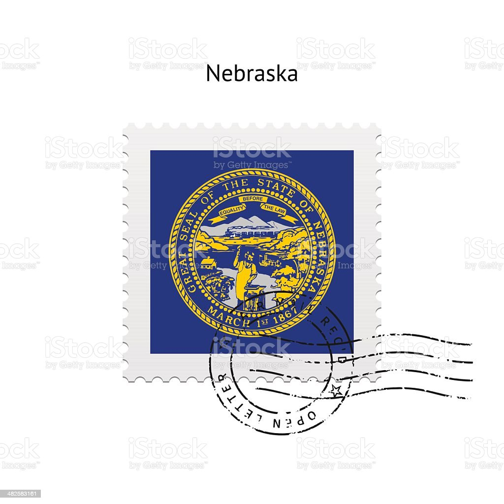 State of Nebraska flag postage stamp. royalty-free stock vector art