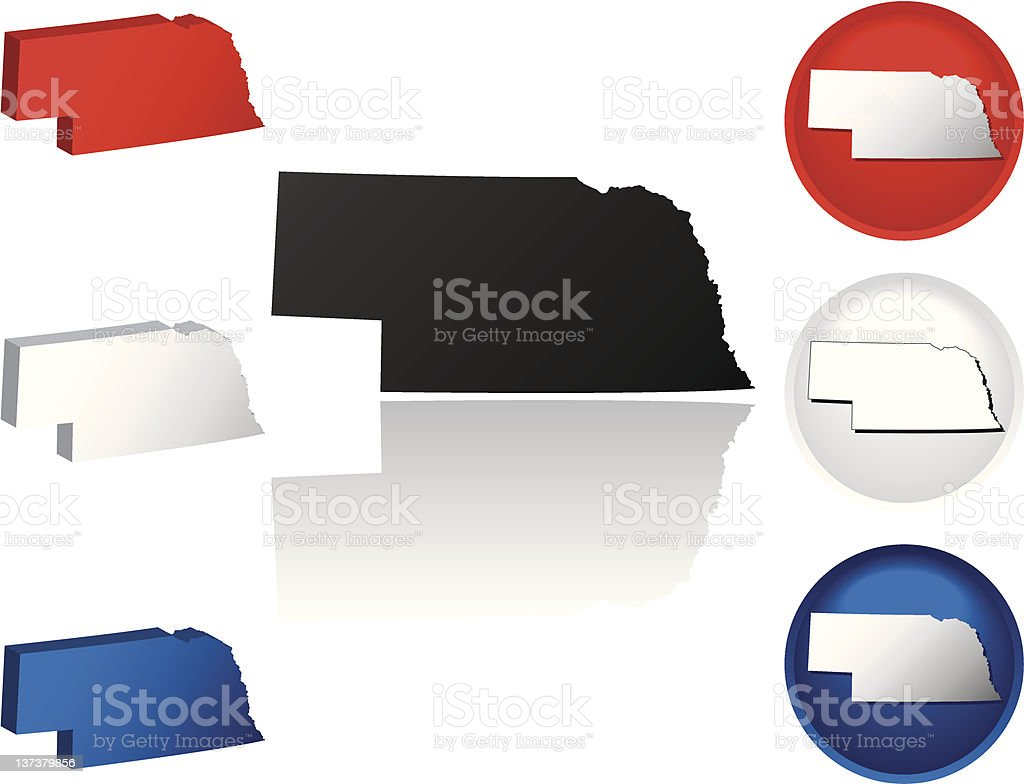 State of Nebraska Icons royalty-free stock vector art