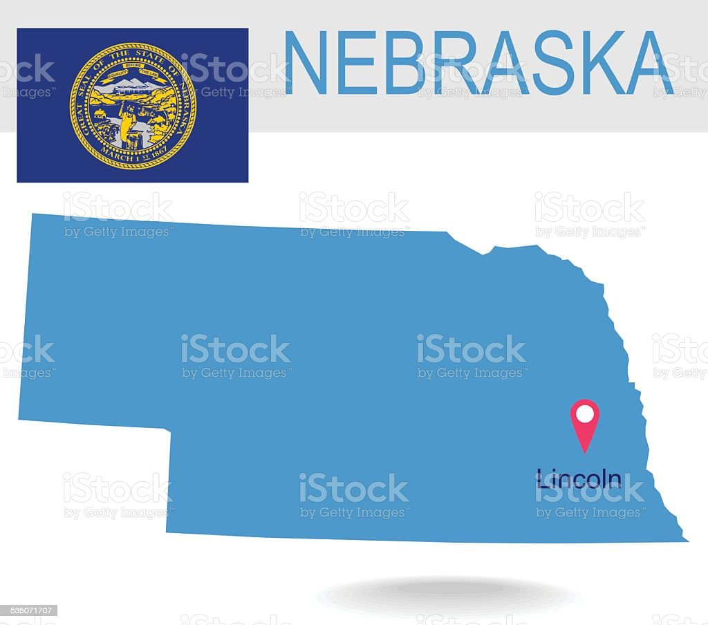 USA state Of Nebraska's map and Flag vector art illustration