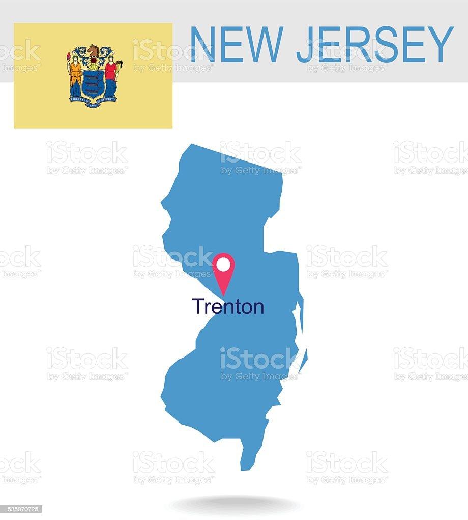 アメリカ合衆国ニュージャージー州の地図とフラグ - 2015年のベクター ...