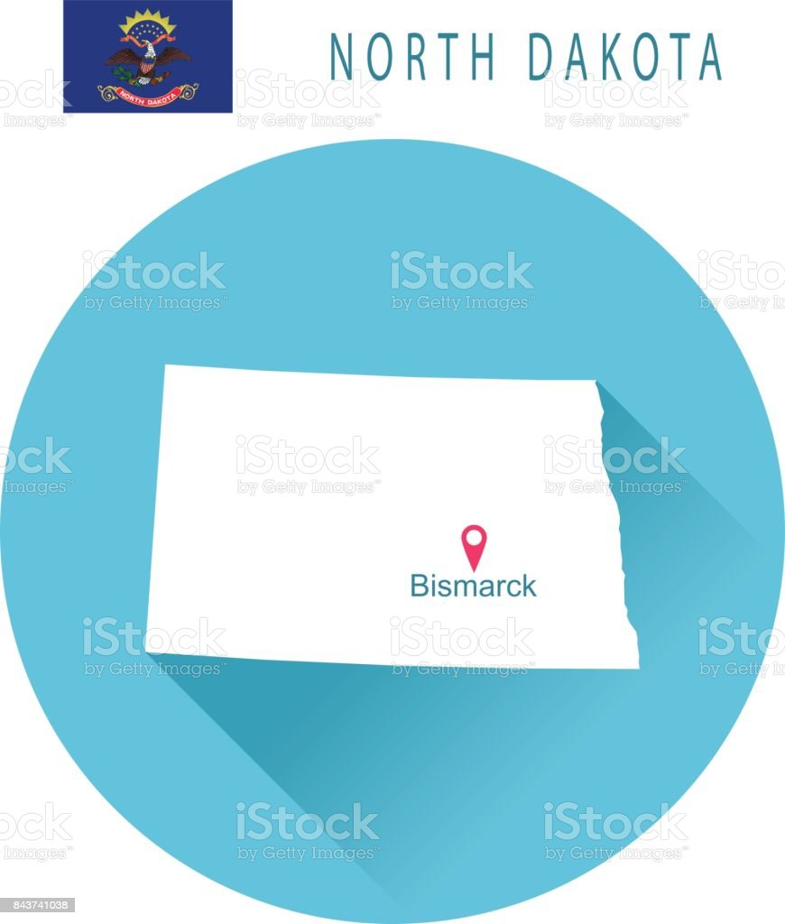 EUA estado de Dakota do Norte, o mapa e a bandeira - ilustração de arte em vetor