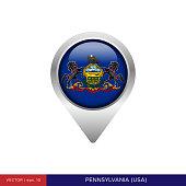 State of Pennsylvania - USA Flag Map Pin Vector Stock Illustration Design Template. Vector eps 10.