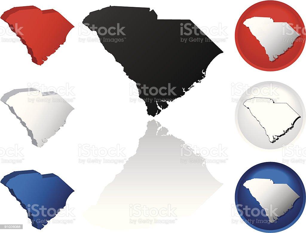 State of South Carolina Icons vector art illustration