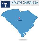 USA state Of South Carolina's map and Flag