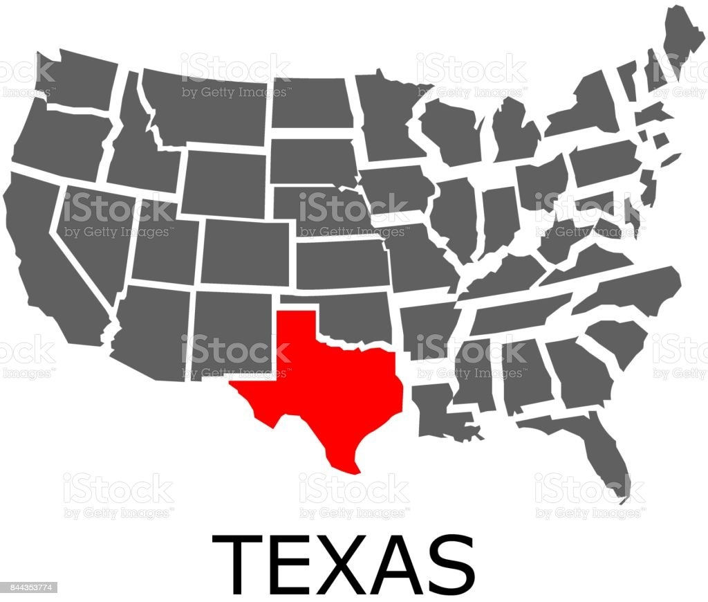 State of Texas on map of USA vector art illustration