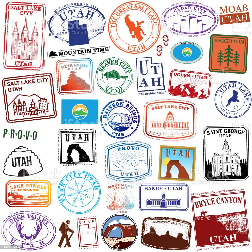 State of Utah Retro Stamps Series of stylized travel stamps of the state of Utah Cedar City stock vector