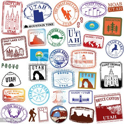 Series of stylized travel stamps of the state of Utah