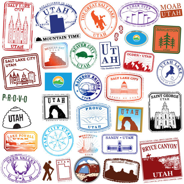 State of Utah Retro Stamps Series of stylized travel stamps of the state of Utah lake powell stock illustrations