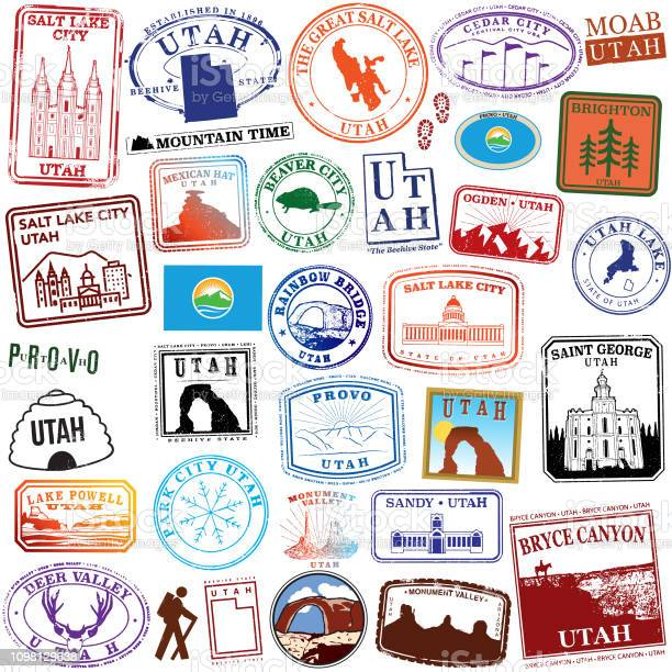 State Of Utah Retro Stamps Stock Illustration - Download Image Now