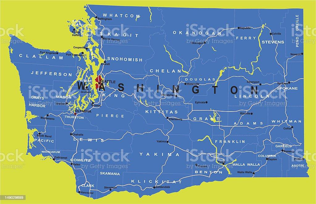 Highly detailed map of Washington