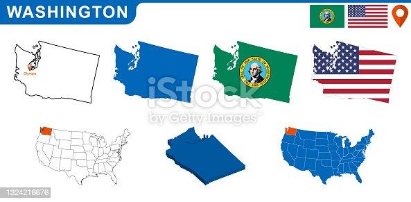 istock USA state Of Washington's map and Flag. 1324216676