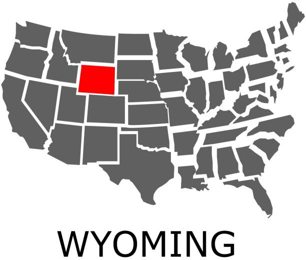 State Of Wyoming On Map Of Usa Stock Vector Art & More Images of ...