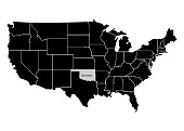 State Oklahoma on USA territory map. White background. Vector illustration