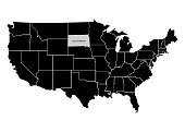 State South Dakota on USA territory map. White background. Vector illustration