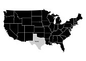 State Texas on USA territory map. White background. Vector illustration
