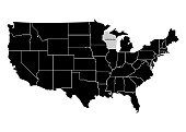 State Wisconsin on USA territory map. White background. Vector illustration