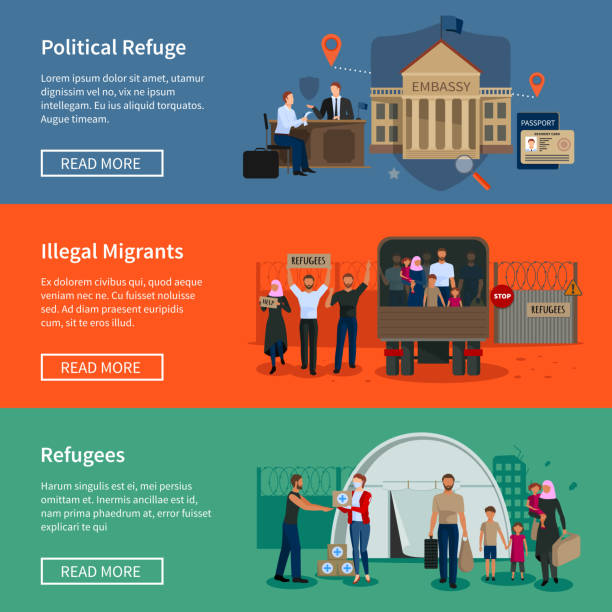 stateless refugees asylum banners Stateless refugees flat horizontal banners set with illegal muslim migrants escaped from war and political migrants seeking asylum vector illustration police meeting stock illustrations