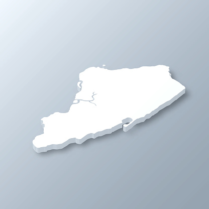 Staten Island 3D map on gray background