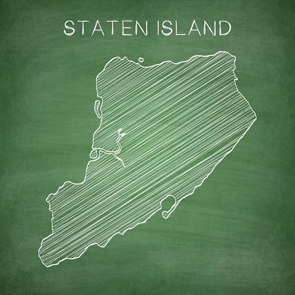 Staten Island map drawn on chalkboard - Blackboard