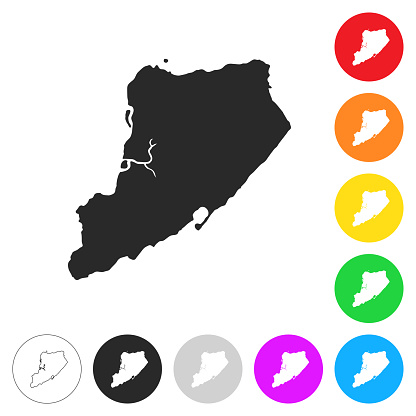 Staten Island map - Flat icons on different color buttons