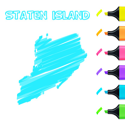 Staten Island map hand drawn with blue highlighter on white background
