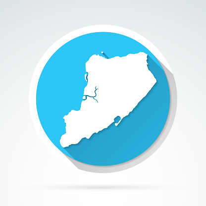 Staten Island map icon - Flat Design with Long Shadow