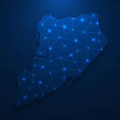 Staten Island map network - Bright mesh on dark blue background