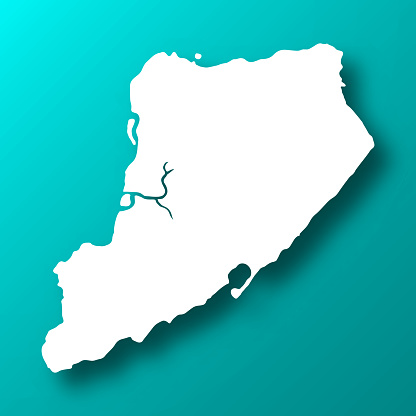 Staten Island map on Blue Green background with shadow