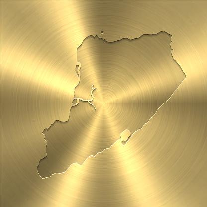 Staten Island map on gold background - Circular brushed metal texture