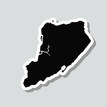 Staten Island map sticker on gray background