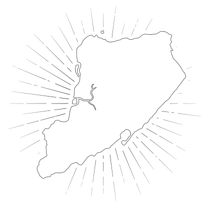 Staten Island map with sunbeams on white background