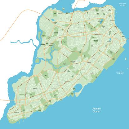 Staten Island - New York City Map - vector illustration