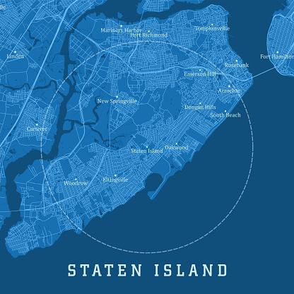 Staten Island NY City Vector Road Map Blue Text