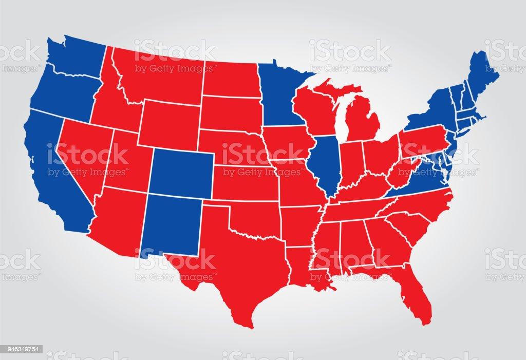 Silhueta de eleição EUA Estados - ilustração de arte em vetor